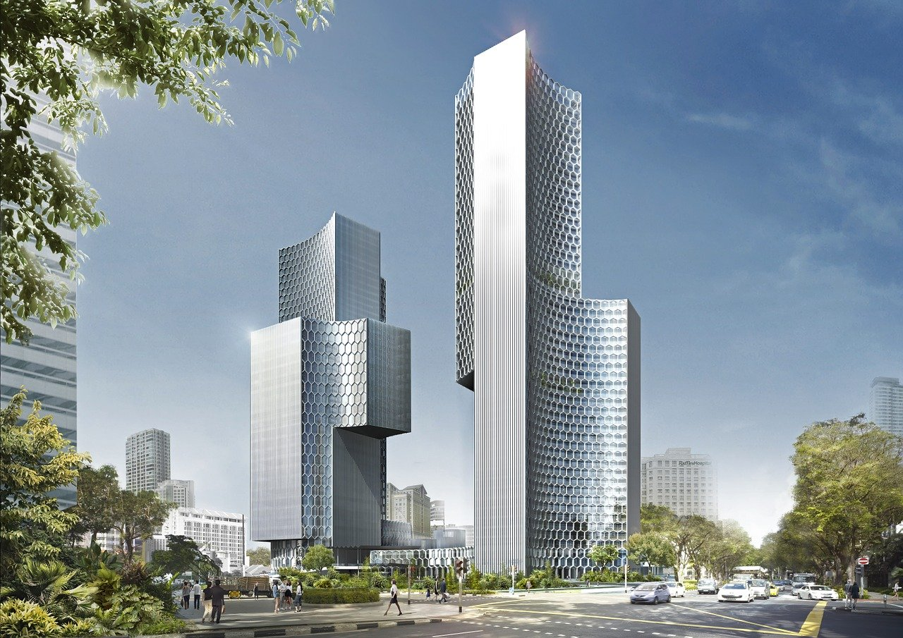 city, urban, skyscrapers